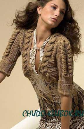 фото Болеро с косами вязаное спицами 17