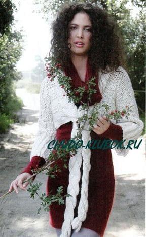 фото Болеро с завязками-косами вязаное спицами 13