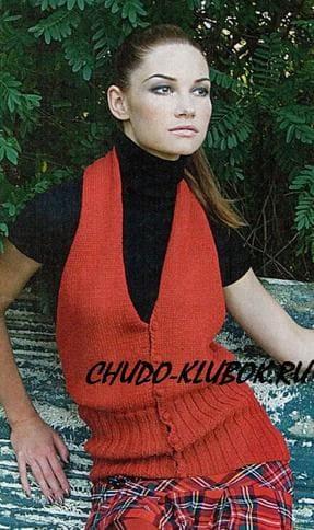 фото Красный жилет вязаный спицами 20