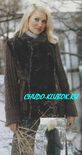 фото Курточка с мехом вязаная спицами 11