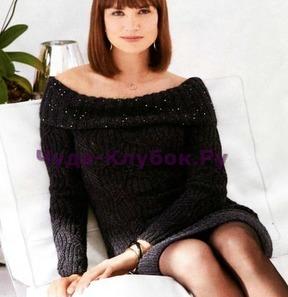 фото Маленькое черное платье с вырезом кармен вязаное спицами 774
