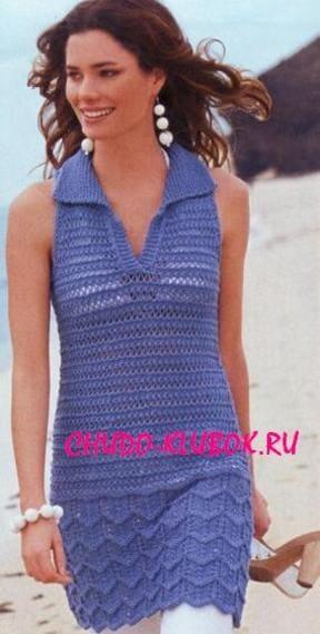 фото Платье-туника вязаное спицами 24