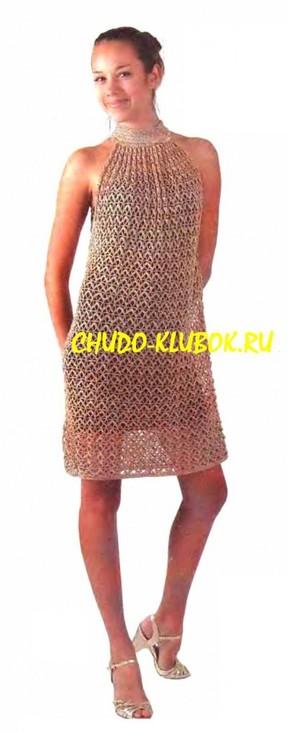 фото Платье золотистого цвета вязаное крючком 22