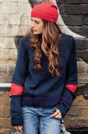 фото Пуловер со вставками-заплатками на локтях и шапочка вязаные спицами 1757