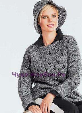 фото Серый ажурный пуловер вязаный спицами 1766