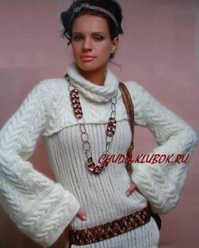 фото Туника-пуловер и болеро вязаные спицами 8