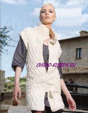 фото Жакет с переплетенным поясом вязаный спицами 18