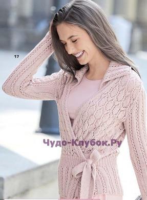 фото Жакет с запахом бледно-розового цвета вязаный спицами 1156