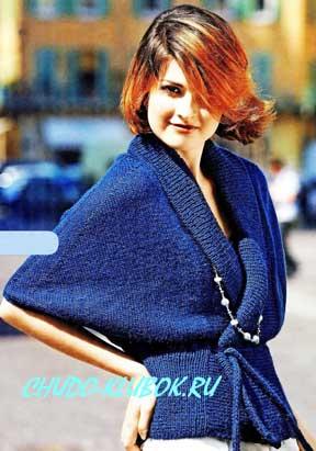 фото Жакет синего цвета вязаный спицами 11