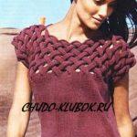 ZHilet pulover top tri v odnom s pletenyim verhom vyazanyiy spitsami 19