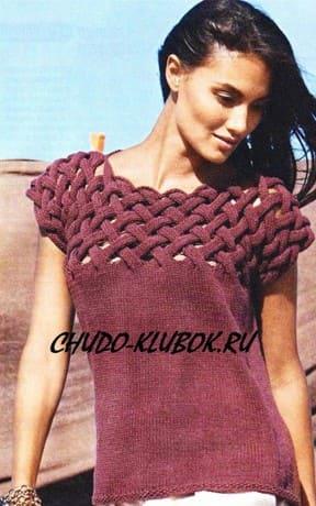 фото Жилет, пуловер, топ - три в одном, с плетеным верхом вязаный спицами 19