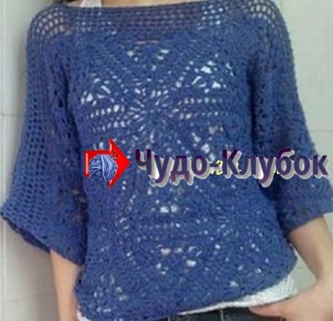 zhilet pulover s treugolnymi motivami vyazanyj kryuchkom 9