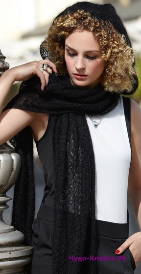 фото Ажурный шарф-капюшон вязаный спицами 124