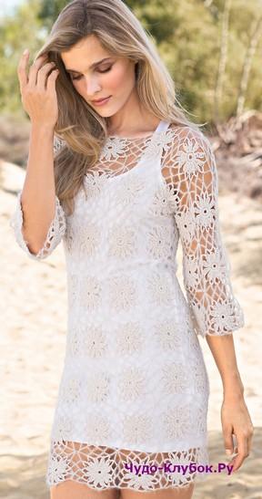 фото Белое платье из кружевных мотивов вязаное крючком 785