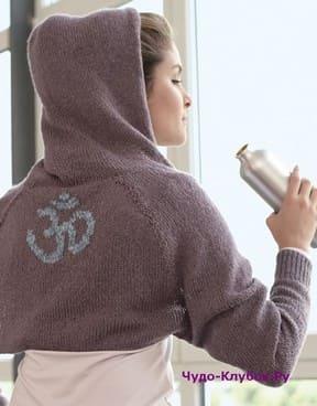 фото Болеро с капюшоном с мотивом на спине вязаное спицами и крючком 155