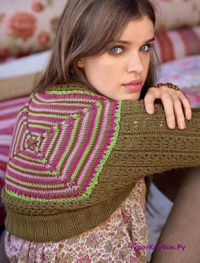фото Болеро с квадратным мотивом на спине вязаное спицами 154
