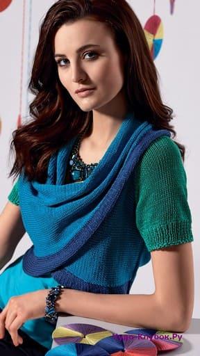фото Болеро с объемной драпировкой вязаное спицами 150