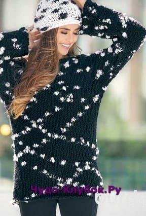 фото Черно-белый пуловер вязаный спицами 1802