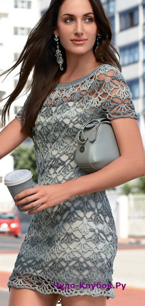 фото Кружевное мини-платье вязаное крючком 780