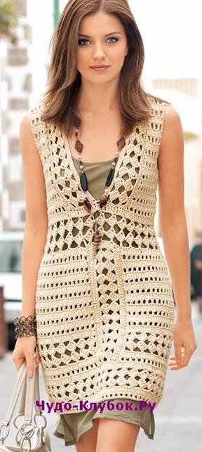 фото Платье с бордюрным узором вязаное крючком 791