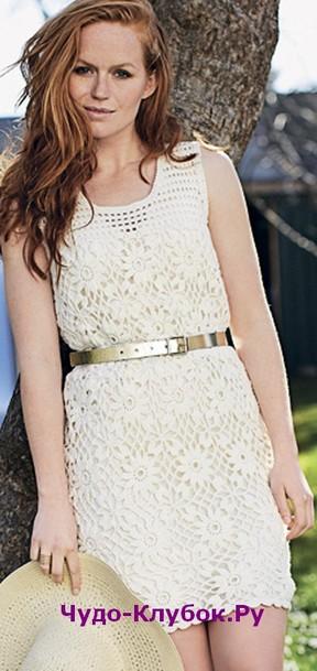фото Платье с квадратными цветочными мотивами вязаное крючком 796