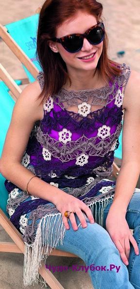 фото Платье с цветочными розетками вязаное на вилке и крючком 787