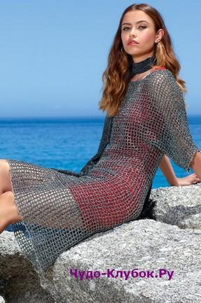 фото Сетчатое платье из ниток с люрексом вязаное крючком 778