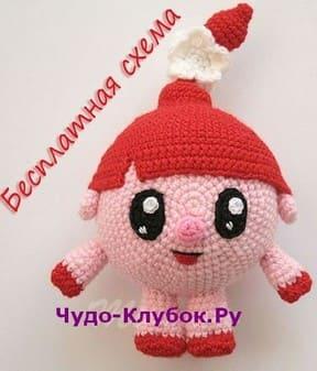 Svinka Nyusha iz multfilma Smeshariki vyazanaya kryuchkom 29