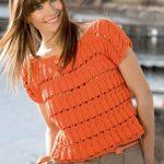 YArkiy pulover s uzorom Kolokolchiki vyazanyiy spitsami