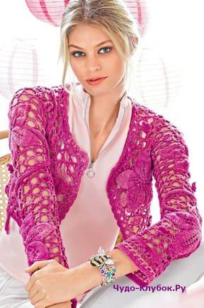 фото Яркое болеро с цветами вязаное крючком и спицами 151