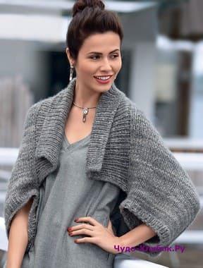фото Жакет болеро меланжевого серого цвета вязаное спицами 1162
