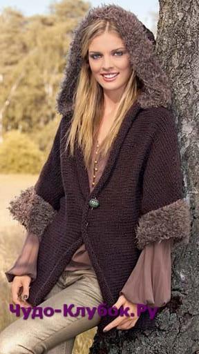 фото Жакет с капюшоном с меховой оторочкой вязаный спицами 1160
