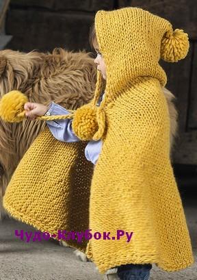 фото Детская накидка с капюшоном вязаная спицами 12