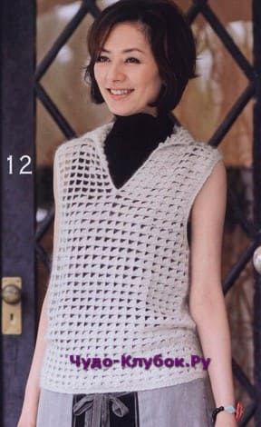 фото Модная жилетка с воротничком крючком 2