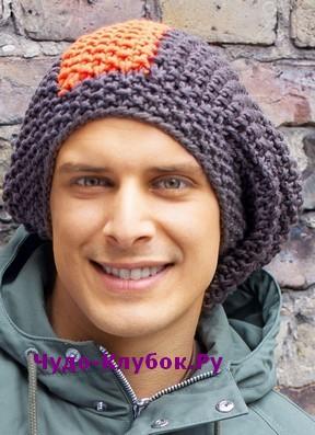 фото Мужская объемная шапка вязаная спицами 349
