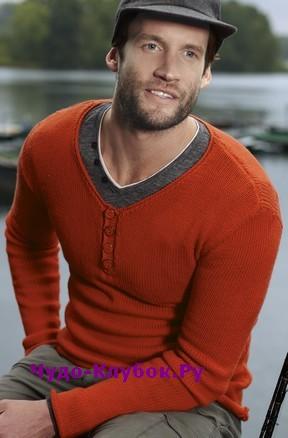 фото Мужской облегающий пуловер вязаный спицами 353