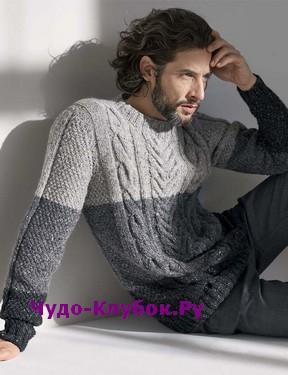 фото Мужской свитер с чередованием цветов вязаный спицами 352