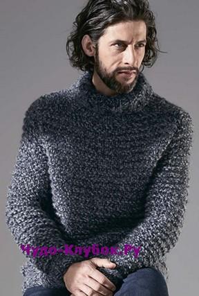 фото Мужской свитер вязаный спицами 351