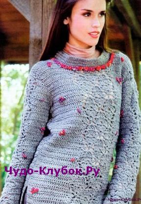 Пуловер с вышитыми розочками вязаный крючком 1806