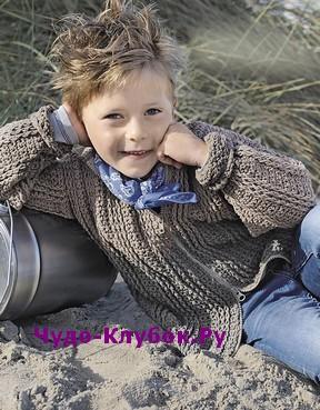 фото Жакет для мальчика на молнии вязаный крючком 74
