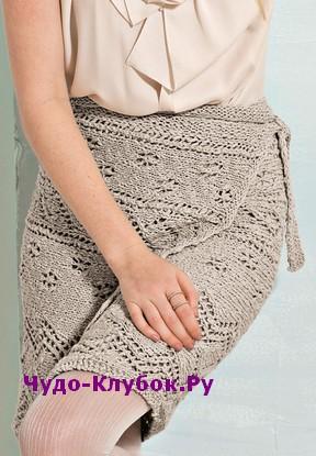 схема Ажурная юбка с запахом вязаная спицами 157