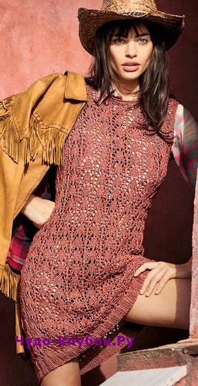 схема Ажурное платье без рукавов вязаное спицами и крючком 809