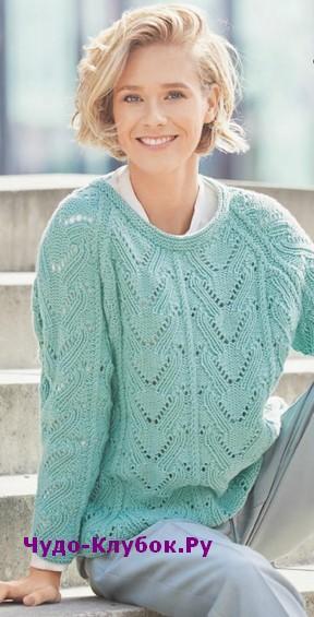 фото Ажурный пуловер мятного цвета вязаный спицами 1822
