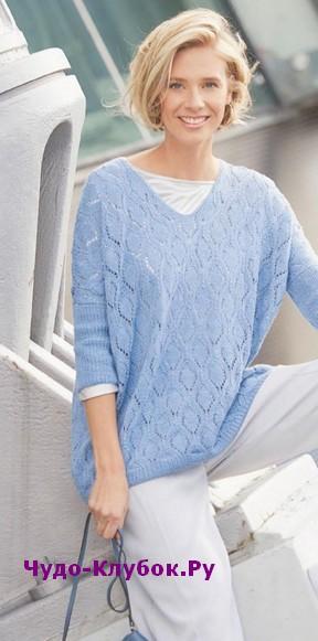 схема Ажурный пуловер с рукавами три четверти вязаный спицами 1820