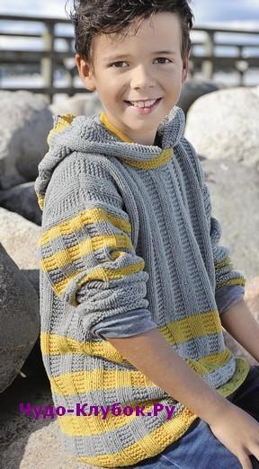 схема Детский пуловер с капюшоном вязаный спицами 29