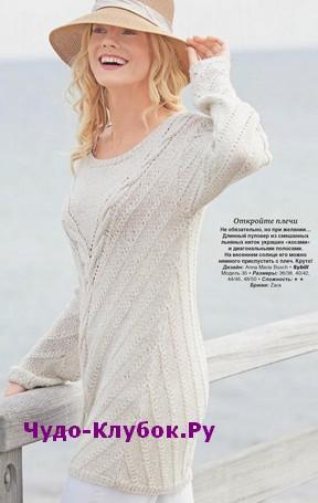 схема Длинный пуловер с диагональными полосами вязаный спицами 1819