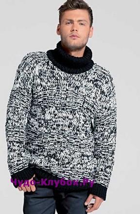 фото Двухцветный свитер для мужчины вязаный спицами 355