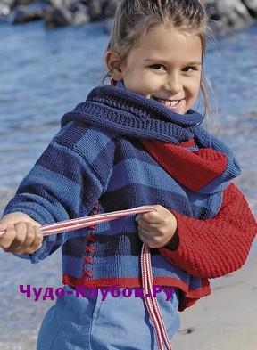 Korotkiy pulover i snud vyazanyie spitsami 120