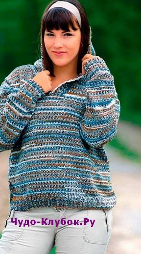 схема Меланжевый пуловер с капюшоном вязаный спицами 1815