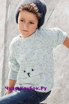 Melanzhevyiy pulover s vyishitoy mordochkoy vyazanyiy spitsami 111